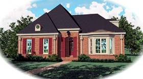 European House Plan 48533 with 3 Beds, 3 Baths, 2 Car Garage Elevation