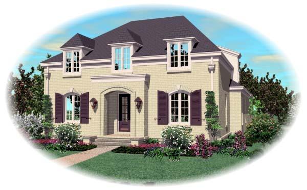 European House Plan 48541 with 3 Beds, 3 Baths, 2 Car Garage Elevation