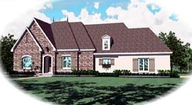 Country , European House Plan 48548 with 4 Beds, 3 Baths, 2 Car Garage Elevation