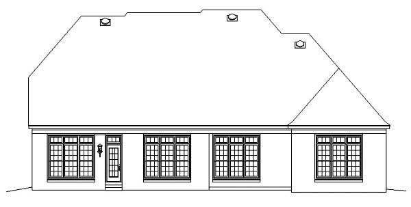 European House Plan 48562 Rear Elevation