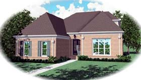 European House Plan 48572 with 3 Beds, 3 Baths, 2 Car Garage Elevation