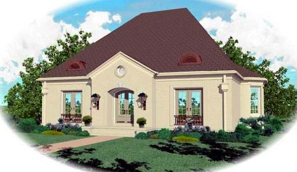 European House Plan 48604 with 3 Beds, 3 Baths, 2 Car Garage Elevation