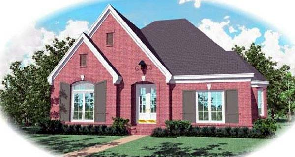 House Plan 48605 | European Style Plan with 3047 Sq Ft, 3 Bedrooms, 3 Bathrooms, 2 Car Garage Elevation