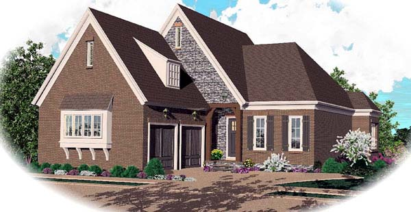 European House Plan 48607 with 3 Beds, 3 Baths, 2 Car Garage Elevation