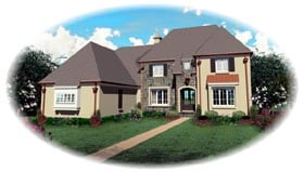 European House Plan 48616 with 4 Beds, 5 Baths, 3 Car Garage Elevation