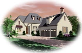 European House Plan 48622 with 3 Beds, 5 Baths, 3 Car Garage Elevation