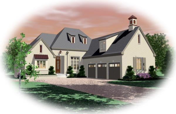 European House Plan 48622 with 3 Beds , 5 Baths , 3 Car Garage Elevation