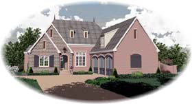 European House Plan 48623 with 3 Beds, 5 Baths, 3 Car Garage Elevation