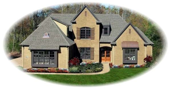 European, Traditional House Plan 48624 with 5 Beds , 5 Baths , 3 Car Garage Elevation