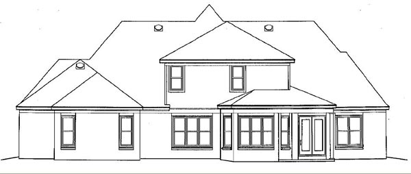 European, Traditional House Plan 48624 with 5 Beds , 5 Baths , 3 Car Garage Rear Elevation