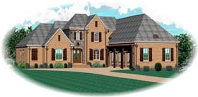 House Plan 48626 | Country European Style Plan with 3959 Sq Ft, 4 Bedrooms, 3 Bathrooms, 3 Car Garage Elevation