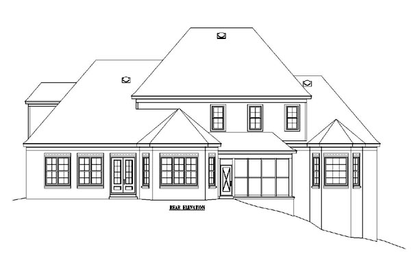 European Traditional House Plan 48627 Rear Elevation