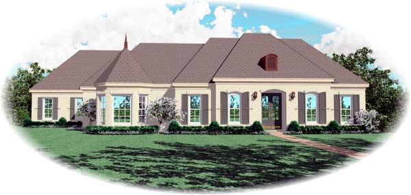 European , Traditional House Plan 48629 with 3 Beds, 4 Baths, 2 Car Garage Elevation