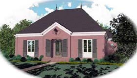 European House Plan 48639 with 3 Beds, 4 Baths, 2 Car Garage Elevation