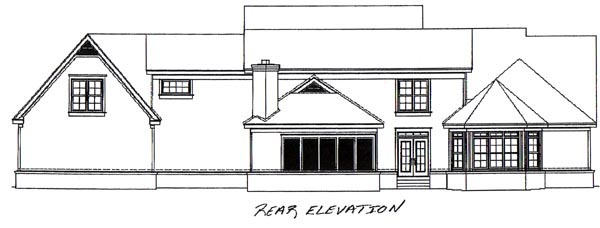 Traditional House Plan 48642 with 4 Beds, 4 Baths, 3 Car Garage Rear Elevation