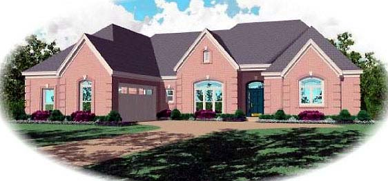 House Plan 48643 | Country European Style Plan with 3271 Sq Ft, 3 Bedrooms, 4 Bathrooms, 2 Car Garage Elevation