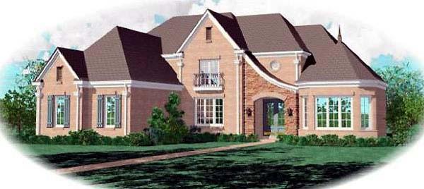 European House Plan 48644 with 5 Beds, 5 Baths, 3 Car Garage Elevation