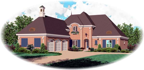 European House Plan 48651 with 4 Beds, 4 Baths, 3 Car Garage Elevation