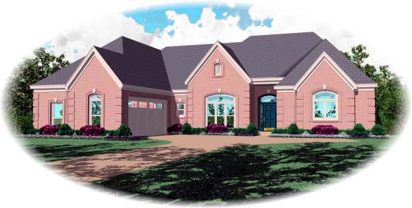 Country , European House Plan 48656 with 3 Beds, 4 Baths, 2 Car Garage Elevation