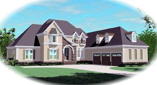 European House Plan 48660 with 4 Beds, 5 Baths, 3 Car Garage Elevation
