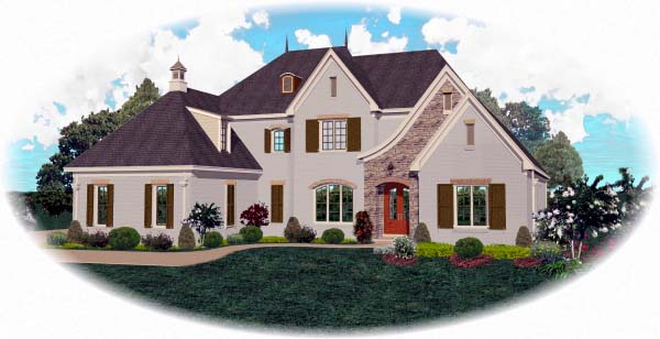 House Plan 48663 | Country European Style Plan with 5214 Sq Ft, 4 Bedrooms, 5 Bathrooms, 3 Car Garage Elevation