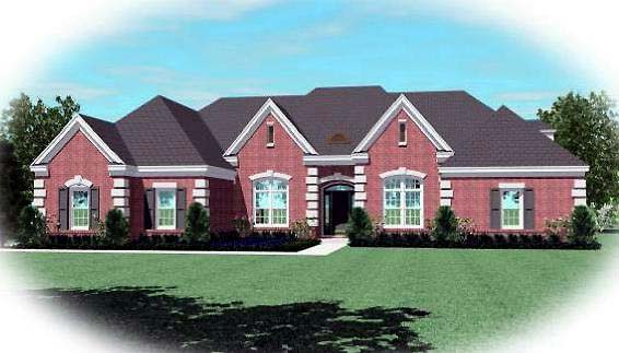 Country, European House Plan 48671 with 4 Beds, 4 Baths, 2 Car Garage Elevation