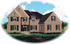 European House Plan 48682 Elevation