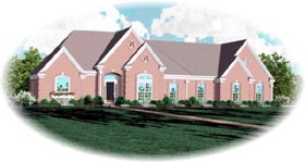 House Plan 48733 | European Traditional Style Plan with 2663 Sq Ft, 4 Bedrooms, 3 Bathrooms, 3 Car Garage Elevation
