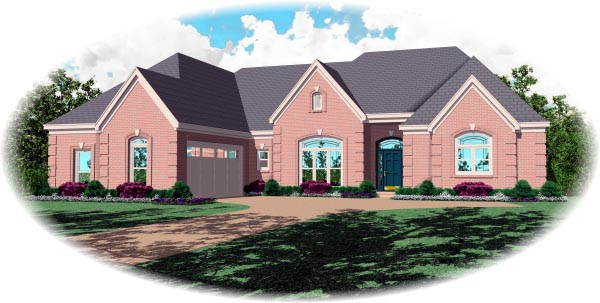 Country, European House Plan 48758 with 3 Beds , 4 Baths , 2 Car Garage Elevation