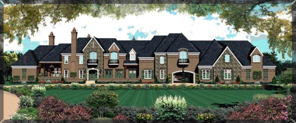 Country, European House Plan 48761 with 6 Beds, 4 Baths, 4 Car Garage Front Elevation
