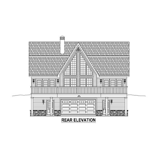Country , Rear Elevation of Plan 48766