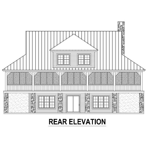 Country Rear Elevation of Plan 48787