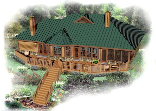 European House Plan 48789 Rear Elevation