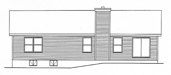 Ranch House Plan 49001 Rear Elevation