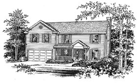 House Plan 49008 | Traditional Style Plan with 3033 Sq Ft, 4 Bedrooms, 3 Bathrooms, 2 Car Garage Elevation