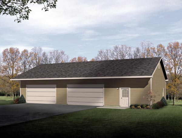 Ranch 4 Car Garage Plan 49011 Elevation