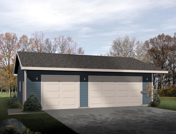 Ranch 3 Car Garage Plan 49016 Elevation
