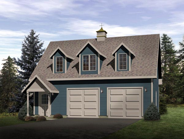 Country, Narrow Lot 2 Car Garage Apartment Plan 49025 with 1 Beds, 1 Baths Elevation