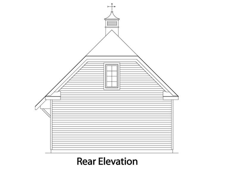 Rear Elevation of Traditional   Garage Plan 49027