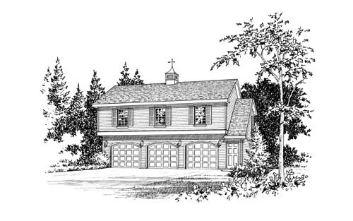 Country 3 Car Garage Apartment Plan 49029 with 2 Beds, 1 Baths Picture 3
