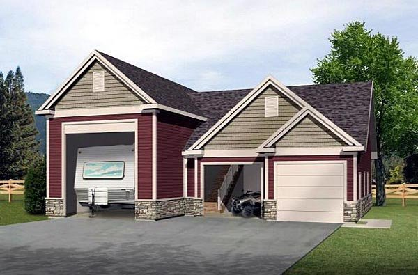 Traditional 3 Car Garage Plan 49030, RV Storage Elevation