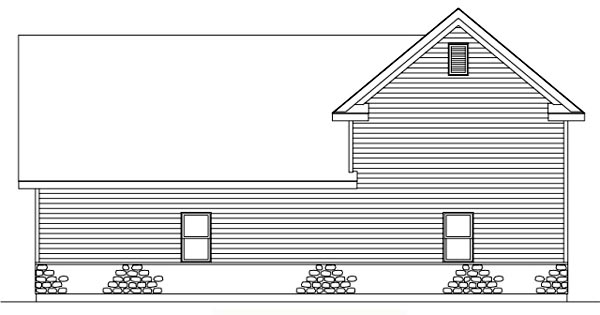 Traditional Rear Elevation of Plan 49030