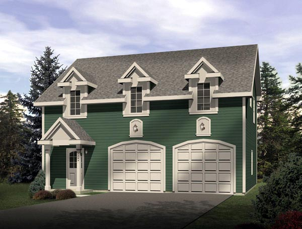Farmhouse 2 Car Garage Apartment Plan 49032 with 1 Beds, 1 Baths Elevation