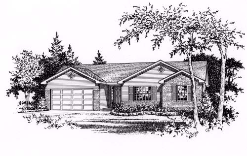 One-Story, Ranch House Plan 49064 with 3 Beds, 2 Baths, 2 Car Garage Elevation