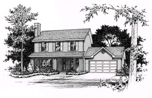 Country House Plan 49065 with 3 Beds, 3 Baths, 2 Car Garage Elevation