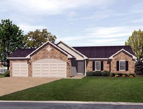 Ranch House Plan 49074 with 3 Beds, 3 Baths, 3 Car Garage Elevation