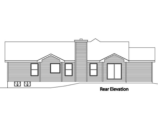 Ranch House Plan 49074 with 3 Beds, 3 Baths, 3 Car Garage Rear Elevation