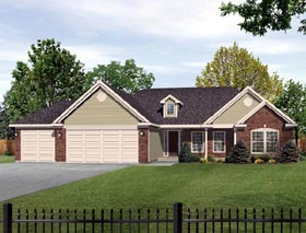 European House Plan 49077 with 3 Beds, 3 Baths, 3 Car Garage Elevation