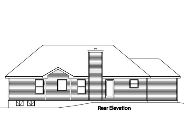 European House Plan 49077 Rear Elevation