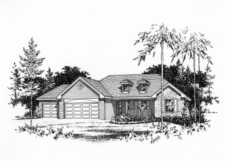 Country House Plan 49078 with 3 Beds, 3 Baths, 3 Car Garage Elevation
